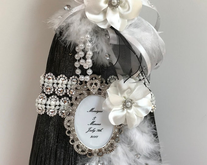 Wedding Broom in Black and White with White Ostrich Feathers