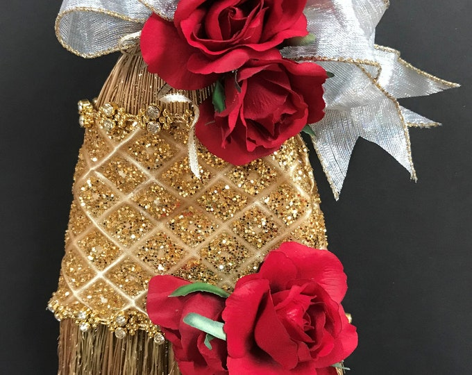 Golden Princess Wedding Broom with Scarlet Roses