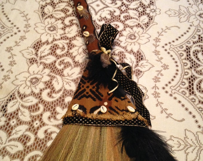 Wedding Broom with Traditional African Mudcloth