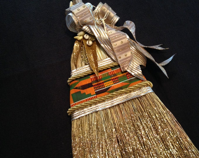 Custom Order for Shanice for One Royal Kente Wedding Broom, one matching ring pillow, and one petal basket