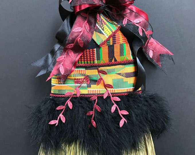 Kente Wedding Broom with Ostrich Feathers