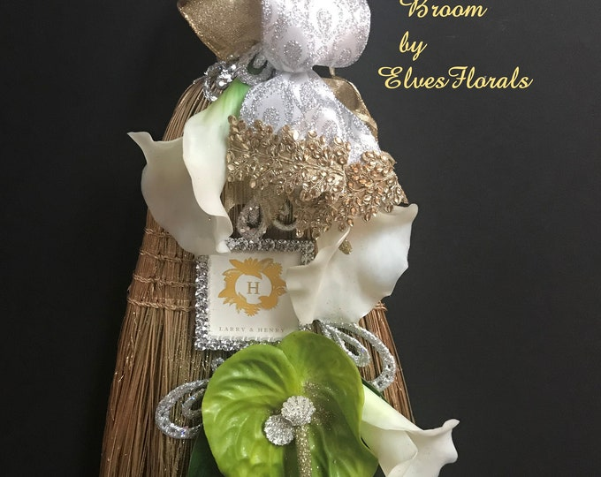 Gold and Silver Glam Wedding Broom