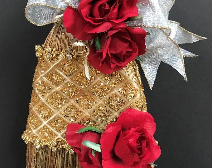 Golden Princess Wedding Broom with Scarlet Roses