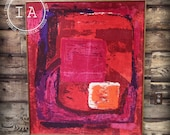 Large Mid Century Modern Framed Abstract Canvas Print