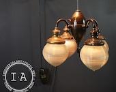 Vintage Pinstriped Brass Holophane Acorn Swing Arm Dental Light w/ Working Pulleys