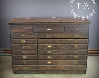 Beau Antique Wooden 17 Drawer Flip Top Storage Map Cabinet