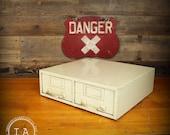 Vintage 2 Drawer Metal Filing Cabinet Storage