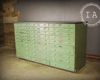 Marvelous Vintage Industrial 30 Drawer Green Wooden Parts Cabinet Counter