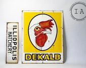 Antique Porcelain Enamel DeKalb Poultry Research Farm and Hatchery Sign Combo