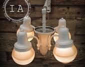 Vintage White Holophane Acorn Shade Swing Arm Dental Light Fixture