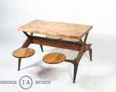 C. 1930 Industrial Swing Stool Dining Table