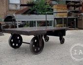 Antique Refinished Cast Iron Machine Shop Cart