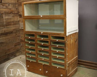 Vintage Industrial Glass Front 20 Drawer Barrister Display Cabinet Grand  Rapids Showcase Co