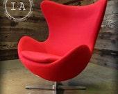 Mid Century Modern Arne Jacobsen Design Red Egg Chair