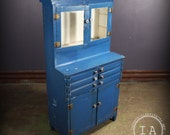 Vintage Industrial Blue Apothecary 6 Drawer Medical Cabinet