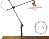 Vintage Industrial OC White Articulating Lamp W/ Milk Glass Petticoat or Enamel Helmet Shade