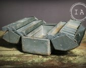 Vintage Industrial Steel Cantilever Tackle Tool Box
