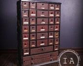 Vintage Industrial Depression Era 36 Drawer Handmade Wooden Small Parts Cabinet