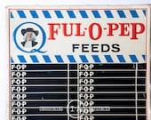 Large Vintage Quaker Ful-O-Pep Feeds Embossed Tin Sign