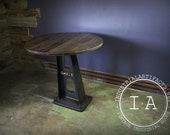 Cast Iron Machine Base Oak Pub Table