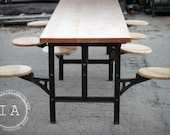 Industrial Cast Iron Swing Stool Dining Table