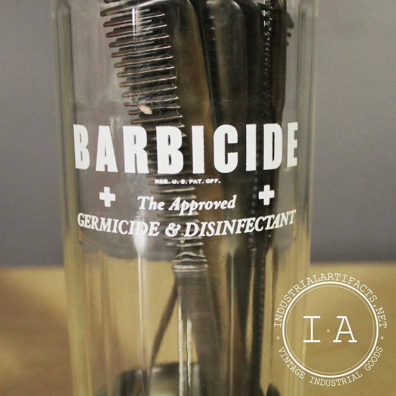 Antique Glass Barbicide Germicide Disinfectant Comb Bottle Storage