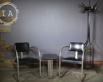 Antique Chrometube Barber Shop Chair and Table Set