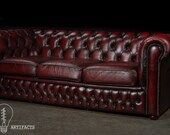 Vintage Tufted Leather Sofa in Oxblood