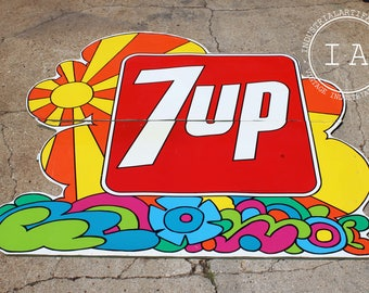 Huge Original 7up 8' Painted Advertising Sign
