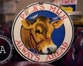 Porcelain Double-Sided Polk's Milk Advertising Sign