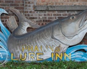 Antique Double-Sided Wooden Fish Sign