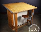 Vintage Industrial Boys Tech Swing Arm Stool Drafting Desk