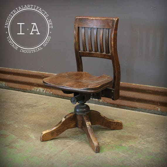 Miraculous Antique Wooden Bankers Swivel Chair Lamtechconsult Wood Chair Design Ideas Lamtechconsultcom