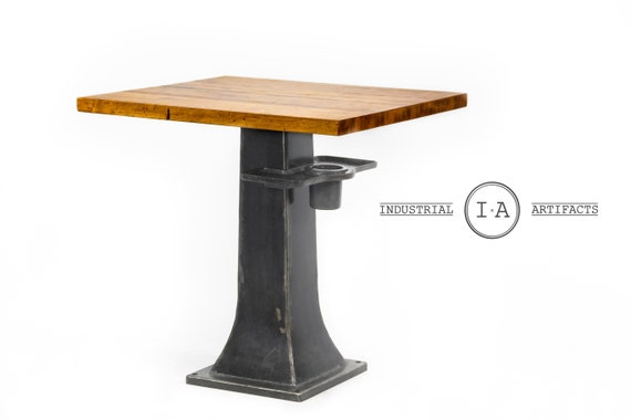 Industrial butchers block pub table with cast iron base watchthetrailerfo