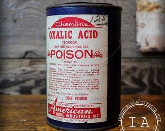 Vintage Industrial Chemline Oxalic Acid Pencil Can Cylinder Poison Label Display American Drug Industries