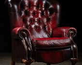 Vintage Tufted Wingback Recliner Chair In Oxblood