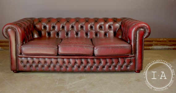 Remarkable Midcentury Tufted Chesterfield Leather Couch In Oxblood Cjindustries Chair Design For Home Cjindustriesco