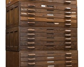 Industrial Antique Four Section Flat File By Hamilton