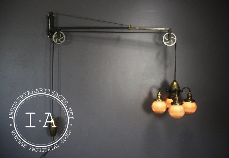 Antique Brass Pulley Operated Acorn Shade Swing Arm Dental Light Fixture