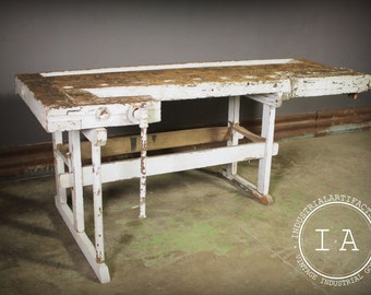 Vintage Industrial Woodworkers Workbench Table Desk