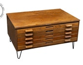 Industrial Antique Hairpin Leg Flat File By Hamilton