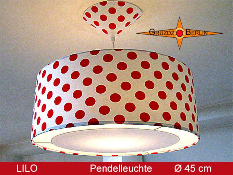 Hanging lamp dotted LILO \u00d845 cm Lamp with diffuser red white