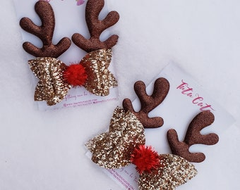 5 x 2.5 INCH GOLD REINDEER RUDOLPH XMAS PADDED EMBELLISHMENT HEADBANDS HAIR BOWS
