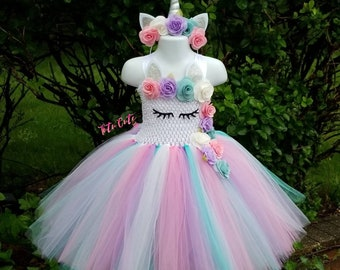 6535bf2441d Pink White Aqua Lavender Unicorn Tutu Dress