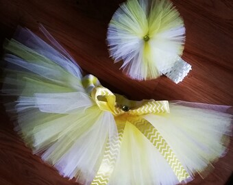 Infant Yellow and White Tutu, up to 9 months