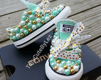 Mint, Gold and White Pearl Converse