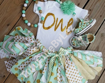 Mint Gold White Fabric Skirt Set With or Without Converse and Chunky Bead Necklace Braclet Set