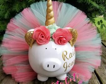 Coral and Seafoam Unicorn Tutu Piggy Bank, Unicorn Room Decor, Unicorn Gift, Unicorn Party Decor, Girls Gift,  Girls Piggy Bank