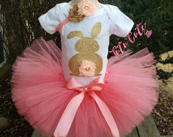 Coral and Gold Easter Bunny Tutu Set, Bunny Tutu Set, Easter Tutu Set, Holiday Tutu Set, Coral Tutu