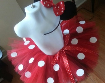 Red and White Polka Dot Tutu Set With Headband